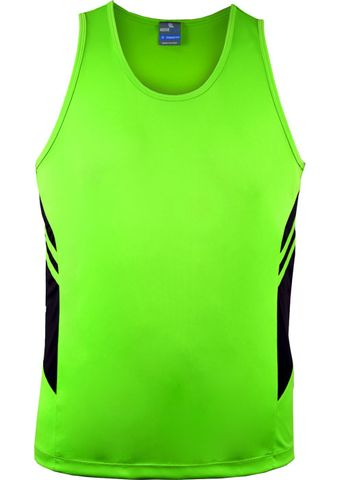 MENS TASMAN SINGLET NEON GREEN/BLACK S