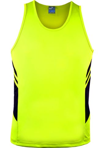 MENS TASMAN SINGLET NEON YELLOW/BLACK S