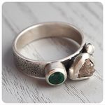 Rough Diamond and Emerald Ring