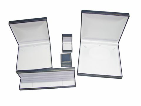 LEATHERETTE GOLD LINE BOXES - BLUE