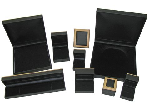 LEATHERETTE WOOD FRAME BOXES - BLACK