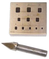ITALIAN 17 EMERALD SETTING PLATE & PUNCH 4-14mm