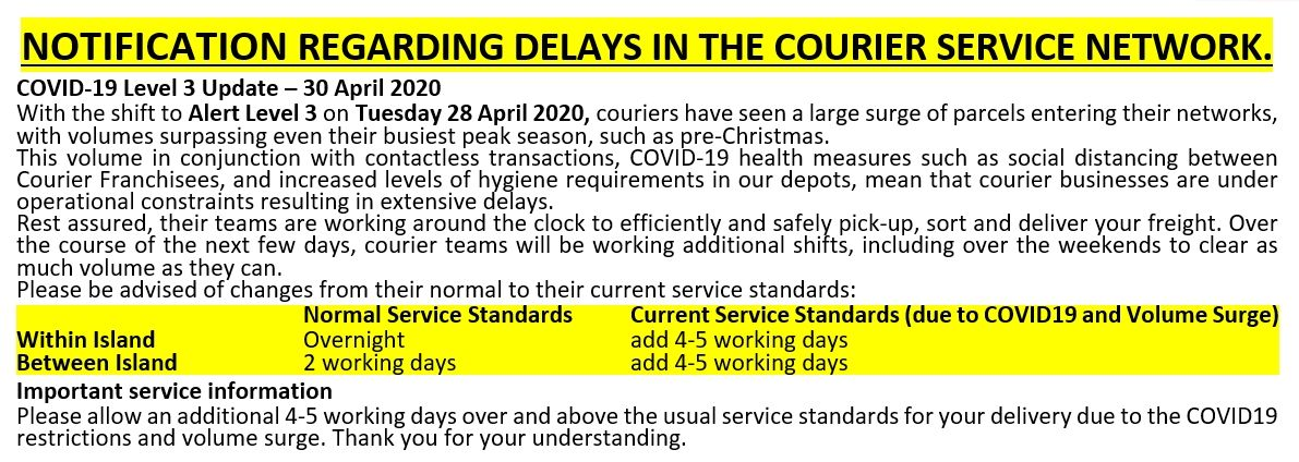 Courier Delay Notice