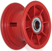 "6""x63mm Red Plastic Rim, 35mm Bore, 88mm Hub Length, 35mm x 20mm Flange Bearings"