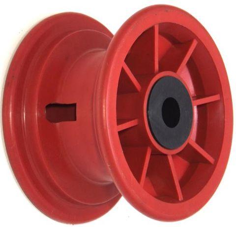 """6""""x63mm Red Plastic Rim, 35mm Bore, 88mm Hub Length, 35mm x 16mm Nylon Bushes"""
