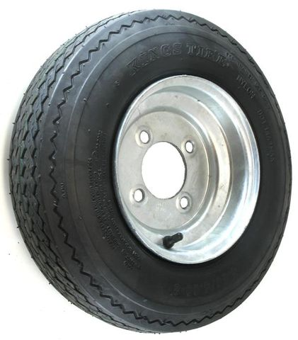 "ASSEMBLY - 8""x3.75"" Galvanised Rim, 4/4"" PCD, 480/400-8 8PR HS Trailer Tyre"