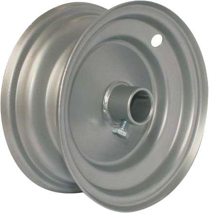 "6""x65mm Steel Barrow Rim, 1"" Plain Bore, 75mm Hub Length, Locking Stud"