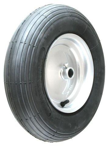 "ASSEMBLY - 8""x65mm Steel Rim, 1"" Plain Bore, 480/400-8 4PR Ribbed Barrow Tyre"