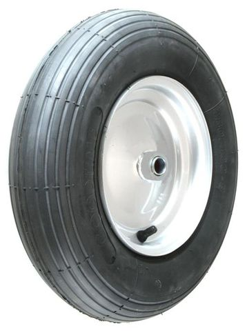"""ASSEMBLY - 8""""x65mm Steel Rim, 480/400-8 4PR Ribbed Barrow Tyre, ¾"""" Flange Brgs"""