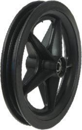 """8"""" Black Plastic Golf Spoke Rim, 1-1/8"""" Bore, 70mm Hub Length, 12.5mm Fl Brgs"""
