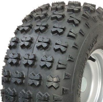 """ASSEMBLY - 8""""x7.00"""" Galv Rim, 20/10-8 4PR P3030 Knobbly ATV Tyre, 1"""" HS Brgs"""
