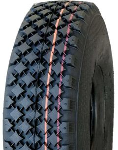 "ASSEMBLY - 4""x55mm Red Plastic Rim, 300-4 6PR V6605 Tyre, ¾"" Nylon Bushes"