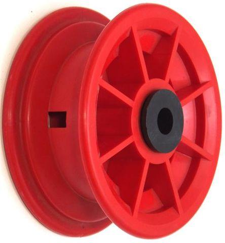 """4""""x55mm Red/Grey Plastic Rim, 35mm Bore, 72mm Hub Length, 35mm x ¾"""" Nylon Bushes"""