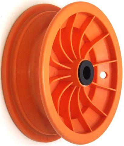 """8""""x65mm Red Plastic Rim, 35mm Bore, 70mm Hub Length, 35mm x 1"""" Nylon Bushes"""