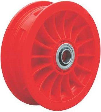 "8""x65mm Red Plastic Rim, 2"" Bore, 70mm Hub Length, 2""x1"" Flange Bearings"