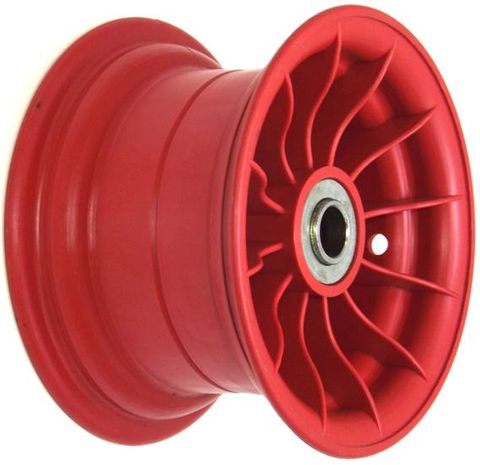 "8""x4¾"" Red Plastic Rim, 2"" Bore, 2""x1"" Flange Bearings"