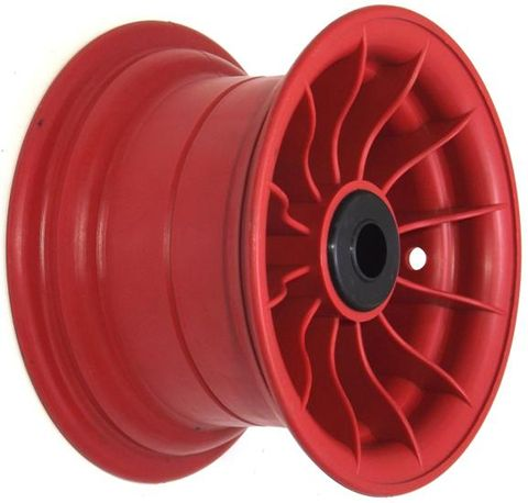 "8""x4¾"" Red Plastic Rim, 2"" Bore, 2""x1"" Nylon Bushes"