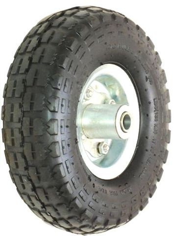 """ASSEMBLY - 4"""" 2-Pc Steel Rim, Offset, 410/350-4 Block Tyre, 16mm FBrgs (Trolley)"""