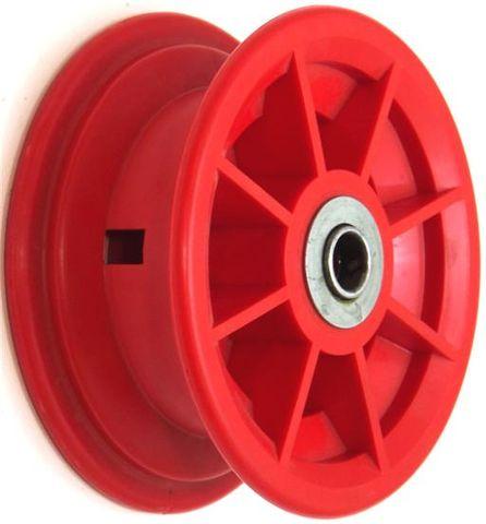 "4""x55mm Red/Grey Plastic Rim, 35mm Bore, 72mm Hub Length, 35mm x ½"" Flange Brgs"
