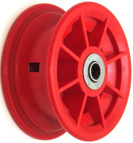 "4""x55mm Red/Grey Plastic Rim, 35mm Bore, 72mm Hub Length,35mm x 16mm Flange Brgs"