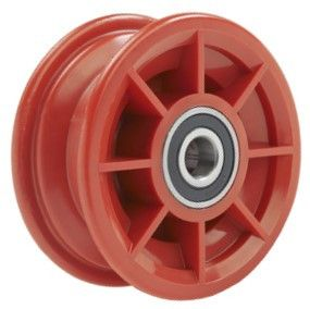 "4""x55mm Red/Grey Plastic Rim, 35mm Bore, 72mm Hub Length, 35mm x 17mm HS Brgs"
