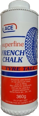 Ace Superfine French Chalk Tyre Talc, 360gm shaker