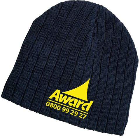 Award Embroidered Rib Knit Beanie with Thermal Lining