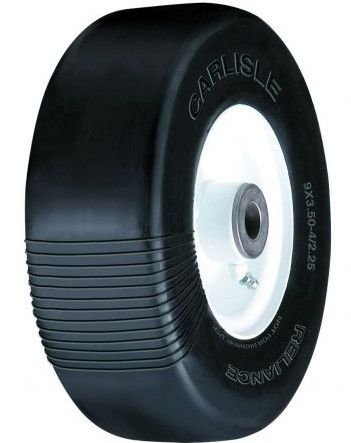 """ASSEMBLY - 4""""x2.25"""" White Steel Rim, 9/350-4 Solid Smooth Tyre, ¾"""" Brgs, 4"""" Hub"""