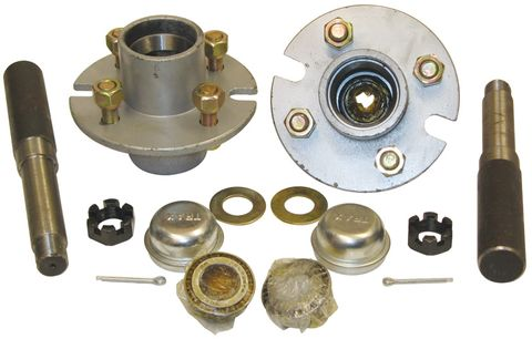 "Hub Set, 1500kg, Cast Steel, Galvanised, 4/4½"" PCD, Taper Roller Bearings"