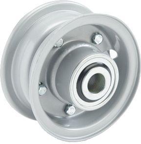 "4""x45mm 2-Pc Steel Rim, 2"" Bore, Hub Length 81mm, 2""x1"" Flange Bearings"