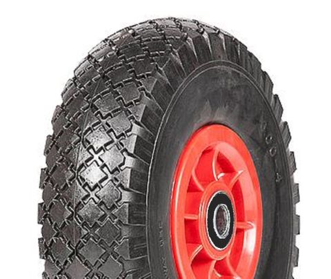 """ASSEMBLY - 4""""x55mm Red Plastic Rim, 300-4 Solid PU Diamond Tyre, 17mm HS Brgs"""