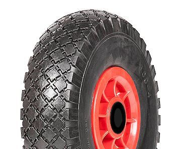 """ASSEMBLY - 4""""x55mm Red Plastic Rim, 300-4 Solid PU Diamond Tyre, 16mm Bushes"""