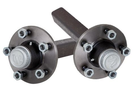 Hub Set, 3300kg, Steel, High Speed Taper Bearings, 5/140mm PCD, 50mm Square Axle
