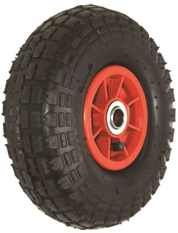 "ASSEMBLY - 4""x55mm Red Plastic Rim, 410/350-4 4PR Block Tyre, ¾"" Flange Bearings"