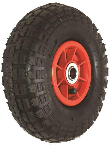 "ASSEMBLY - 4""x55mm Red Plastic Rim, 410/350-4 2PR Block Tyre, 16mm FBrgs"