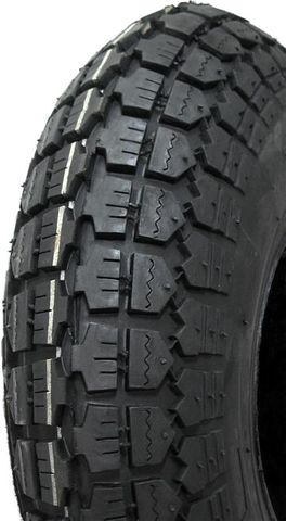 "ASSEMBLY - 4""x55mm Red Plastic Rim, 410/350-4 4PR Block Tyre, 15mm HS Bearings"
