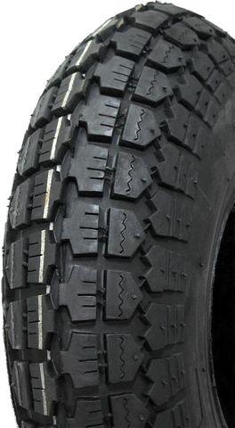 "ASSEMBLY - 4""x55mm Red Plastic Rim, 410/350-4 4PR Block Tyre, ½"" Nylon Bushes"