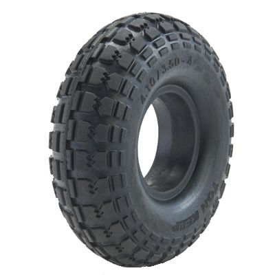 "ASSEMBLY - 4""x2.00"" 2-Pc Zinc Coated Rim, 410/350-4 Solid PU Block Tyre,1"" Bush"