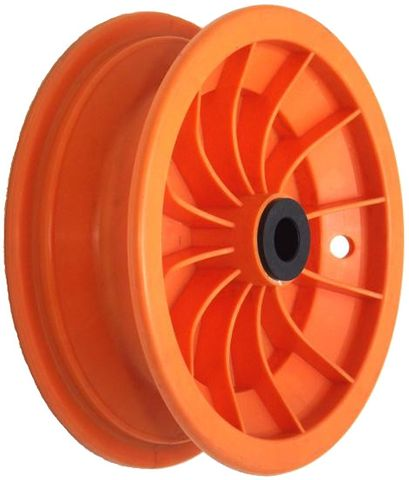 """8""""x65mm Red Plastic Rim, 35mm Bore, 70mm Hub Length, 35mm x ½"""" Nylon Bushes"""