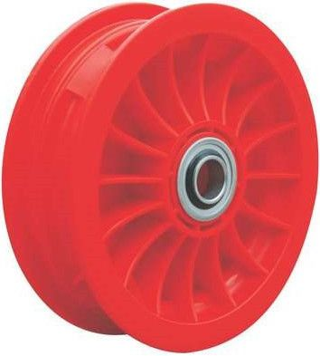 "8""x65mm Red Plastic Rim, 2"" Bore, 70mm Hub Length, 2""x¾"" Flange Bearings"