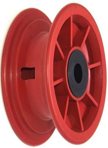 """8""""x65mm Red Plastic Rim, 2"""" Bore, 70mm Hub Length, 2""""x¾"""" Nylon Bushes"""