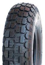 "ASSEMBLY - 6""x65mm Steel Rim, 400-6 4PR V6632 HD Block Tyre, 1"" Nylon Bushes"