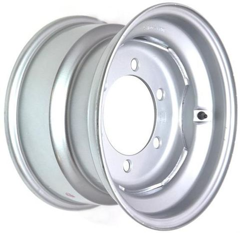 "15.3""x9.00"" Silver Painted Steel Rim, 6/205mm PCD, 161mm Bore, ET0"