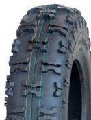 """ASSEMBLY - 6""""x4.50"""" Steel Rim, 13/500-6 6PR V8505 Knobbly Tyre, 25mm Keyed Bush"""