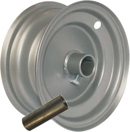 "6""x65mm Steel Barrow Rim, 1"" Plain Bore, Locking Stud, 1"">¾"" Steel Reducing Bush"