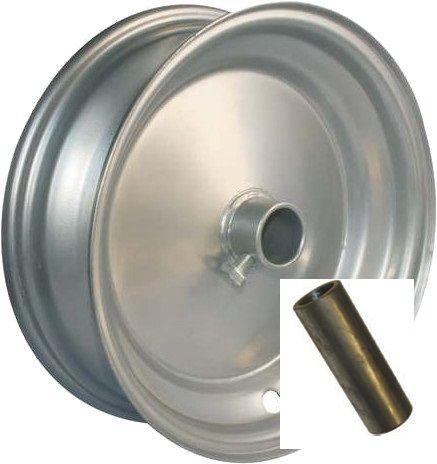 "8""x65mm Steel Barrow Rim, 1"" Plain Bore, Locking Stud, 1"">¾"" Steel Reducing Bush"