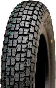 """ASSEMBLY - 8""""x65mm Steel Rim, 350-8 4PR V9128 Block Tyre, 16mm Flange Bearings"""