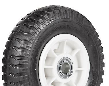 """ASSEMBLY - 4""""x55mm Grey Plastic Rim, 250-4 Solid PU Military Tyre, 16mm Bushes"""