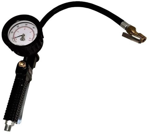 Groz Tyre Inflator with Gauge for Cars, Analog, 50 p.s.i. max, 300mm hose