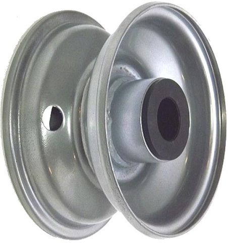 """5""""x3.25"""" Steel Rim, 2"""" Bore, 98mm Hub Length, 2""""x1"""" Nylon Bushes"""